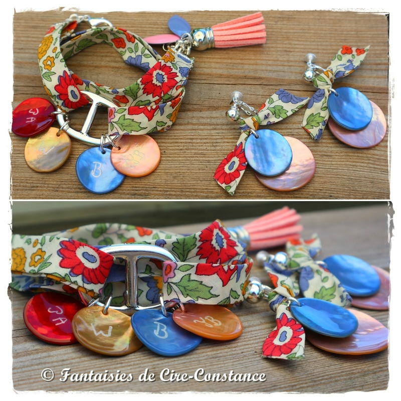 Parure bracelet Catherine nacres gravées BO duo de nacres