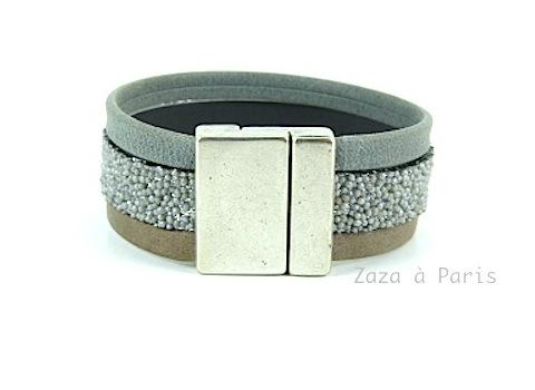 Bracelet Manchette Taupe Gris caviar