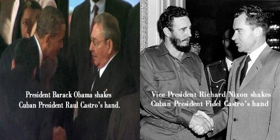 Obama handshake and Nixon handshake with Castro Brothers