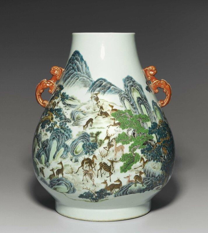 A famille rose 'Hundred deer' hu-form vase, Guangxu period (1875-1908)
