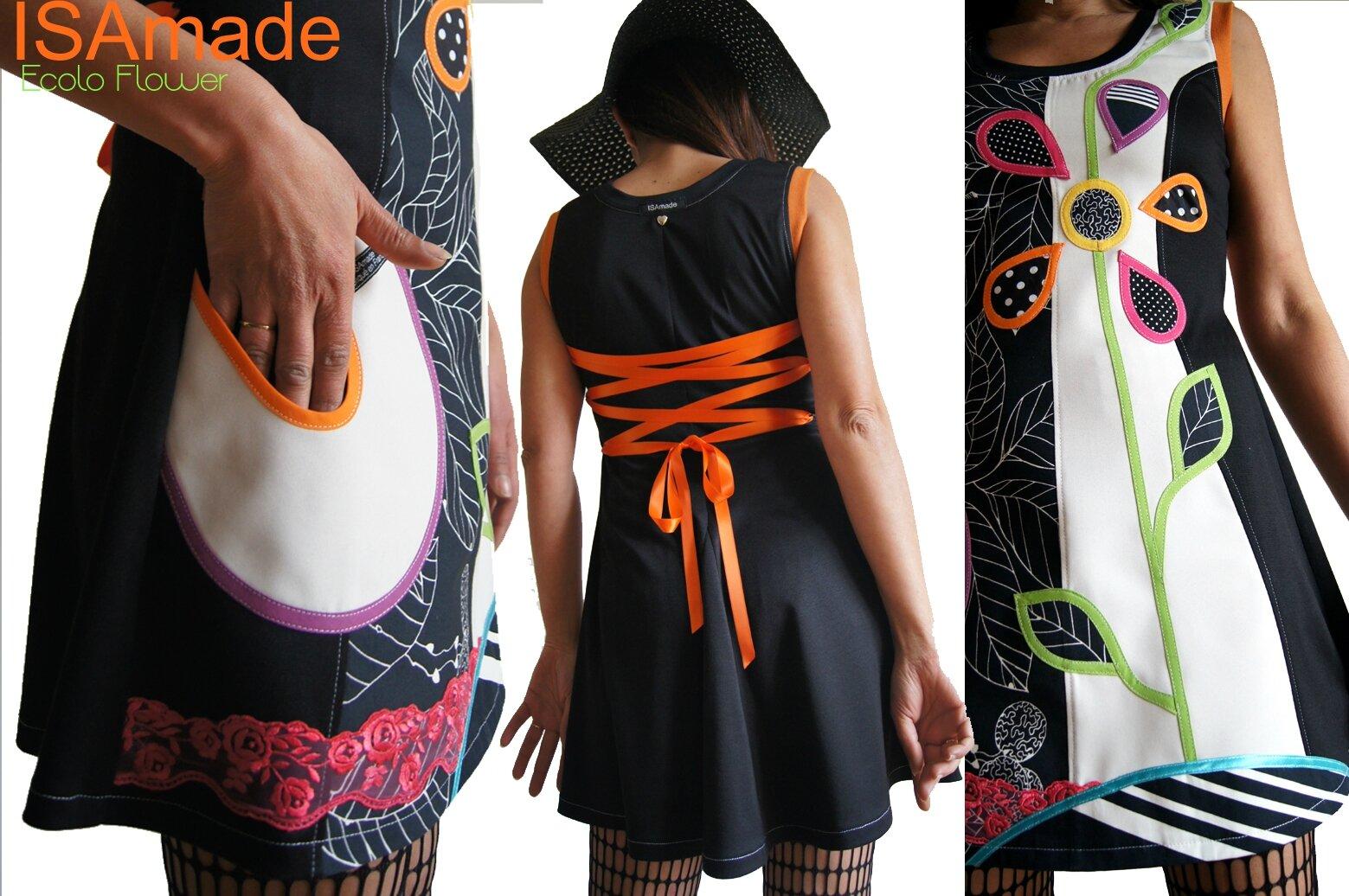 Robe maille Noire écru Look graphique & patch Fleur 70's stylisée à pois et dentelle Rose fuchsia