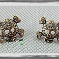Boucles d'oreilles têtes de mort strass couleur crystal métal couleur bronze