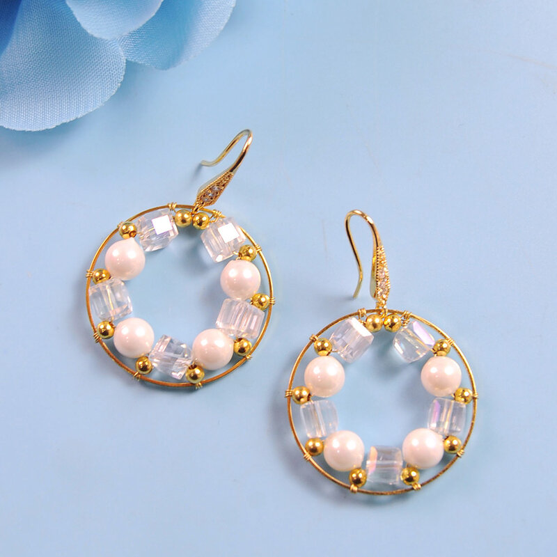 PandaHall Tutorial on Delicate Glass Beads Wire Wrapped Earrings-5