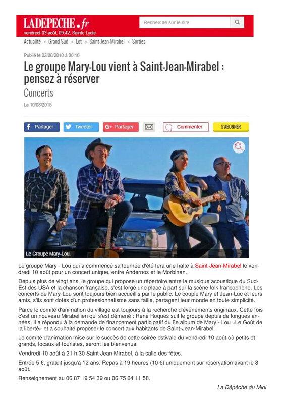 article La Dépêche Marilou