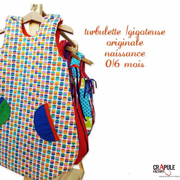 Turbulette / gigoteuse Naissance Originale motifs rétro pop vintage orange bleu vert 2 poches originales mixte 0/6 mois / bébé garçon fille mixte créateur CrApule FActOry www.crapule-factory.com