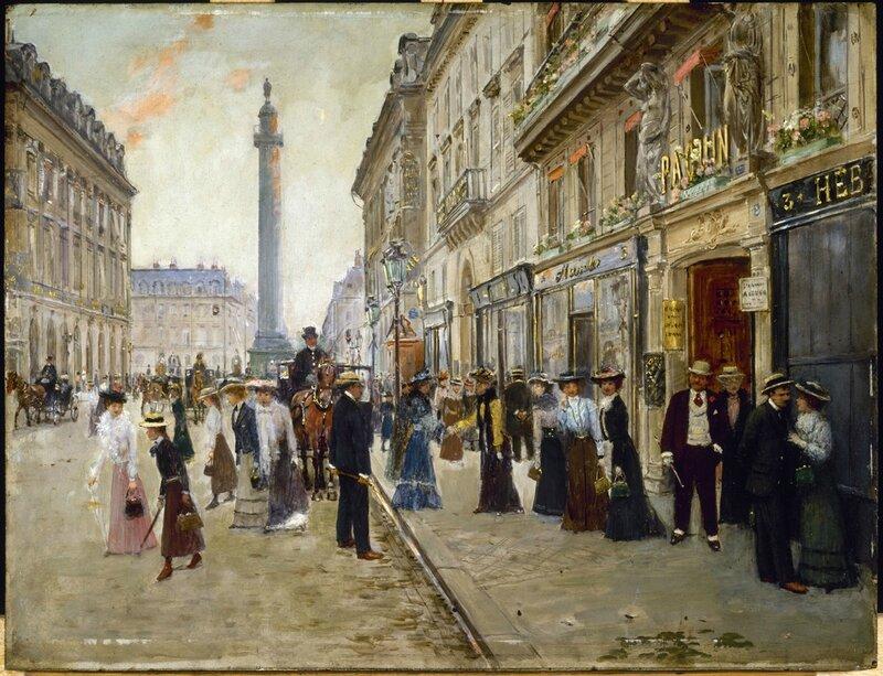Beraud jean - Sortie des ouvrieres de la maison paquin rue de la paix huile sur bois 1902