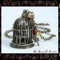 Sautoir Bird in Cage Bronze (1)