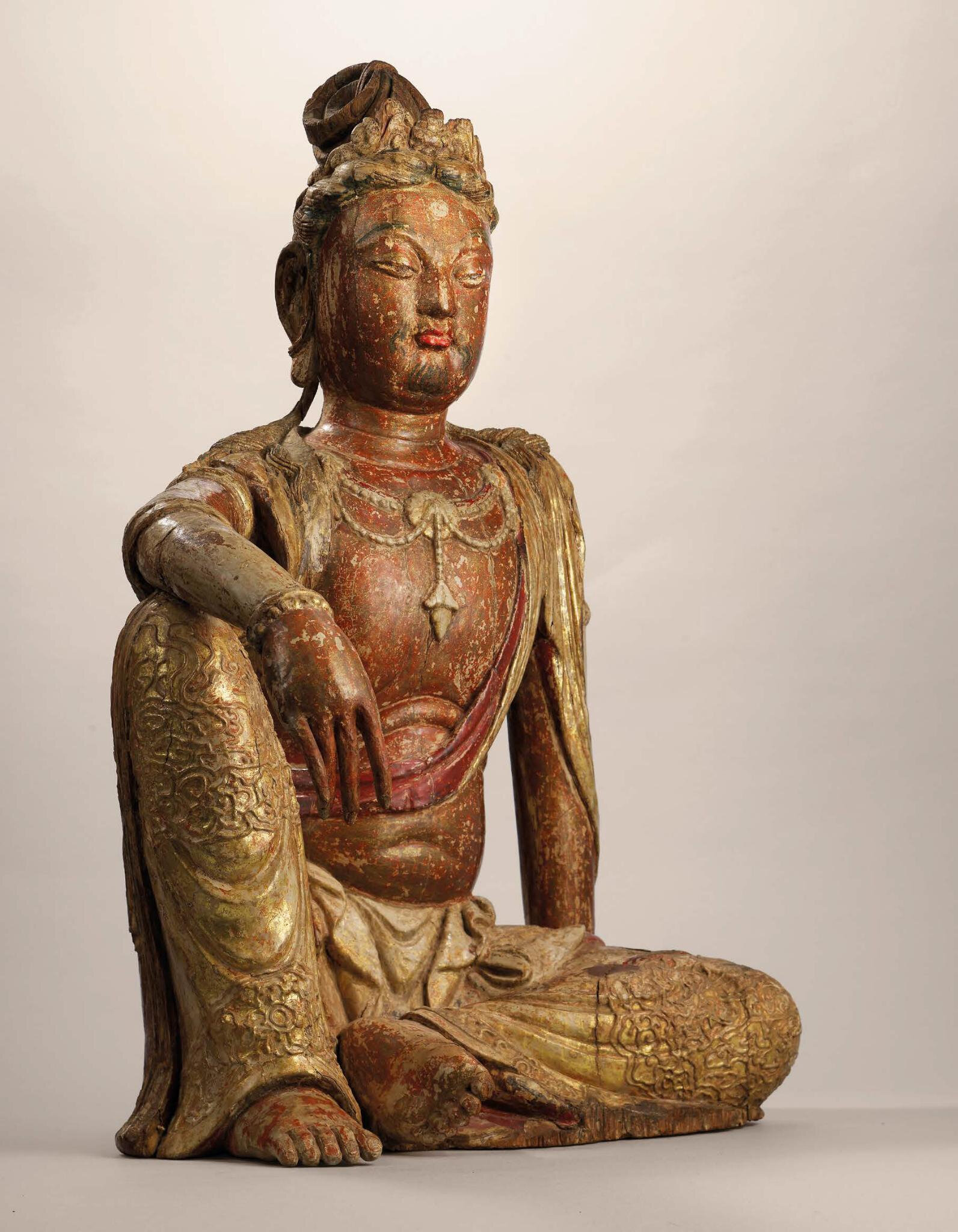 A Magnificent And Extremely Rare Polychrome Wood Figure Of Water