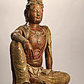A magnificent and extremely rare polychrome wood figure of water moon guanyin, liao-jin dynasty (907-1234)