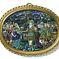 Themeeting of abraham and melchizedek, french, limoges, early 17th century