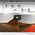 Nexyad adas : road detection (lane with markings and sun in front of the car) with roadnex v2.2