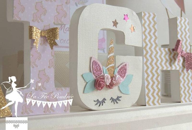lettre prenom decoree chambre enfant bapteme theme licorne rose poudre ivoire dore