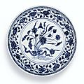 A blue and white 'Lotus Bouquet' dish, Ming dynasty, Yongle period
