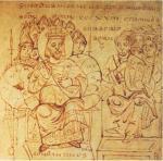 Constantin préside le concile de Nicée, Verceil (Italie), XIe s