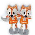 Doudou renard orange gris personnalisé