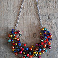 Collier crocheté multicolore