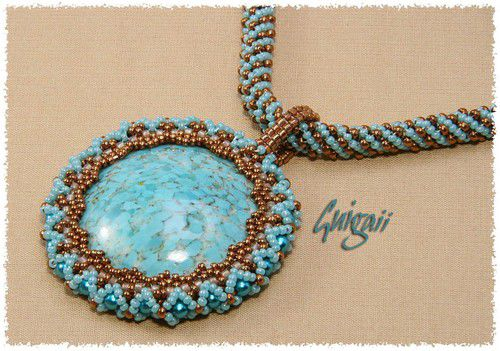 Collier Turquoise Matrix pandorisé (2)