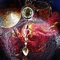 Sautoir montre boule à quartz surmontant un coeur de rhodonite...
