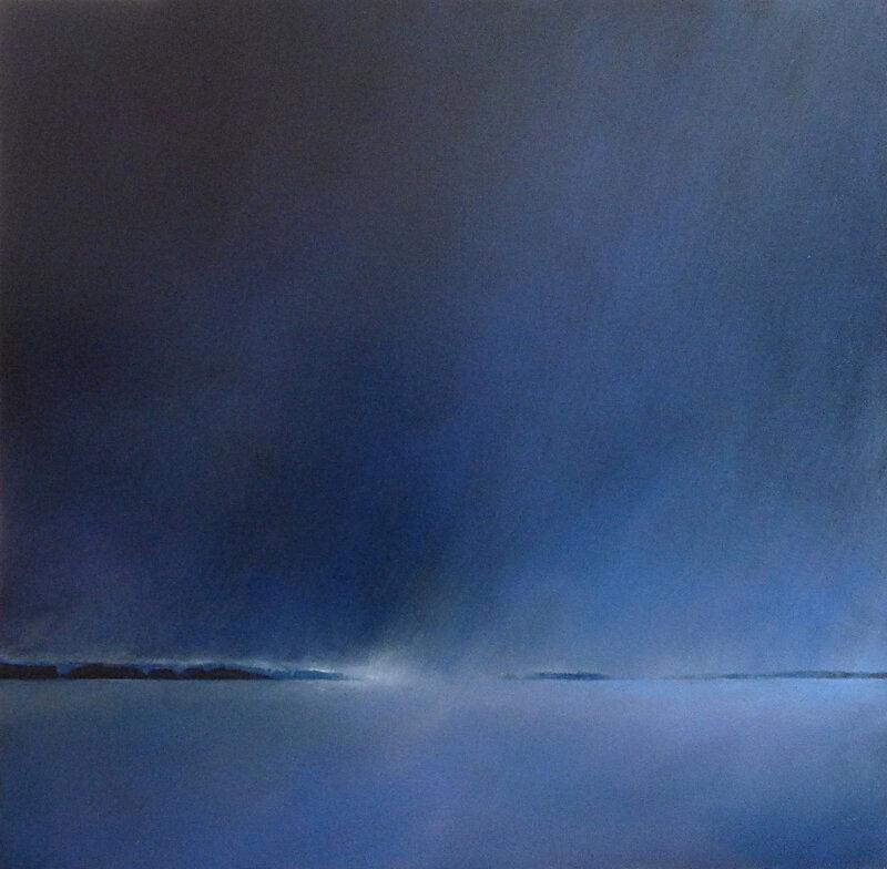 Le grain bleu (version définitive), huile sur bois, 80 x 80 cm, mai 2017