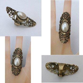 Bague Style Vintage Armure Filigrane Perle Nacrée Blanc Métal Couleur Bronze T59_60