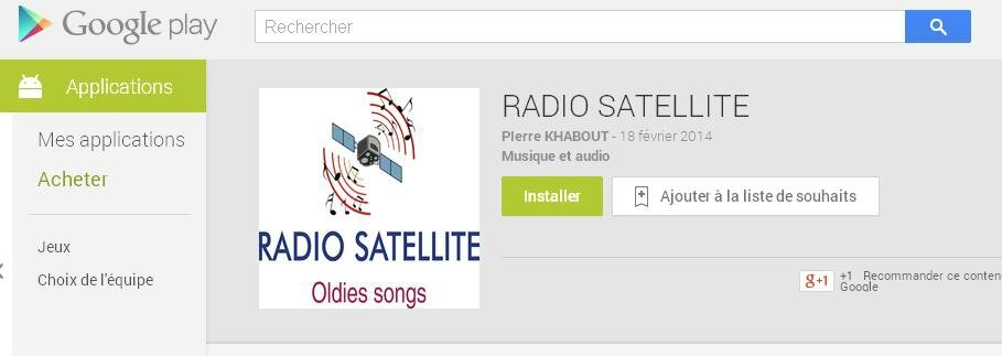 APPLI RADIO SATELLITE SUR GOOGLE STORE / GOOGLE PLAY