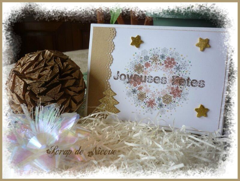 Coffret 3 cartes Noël doré