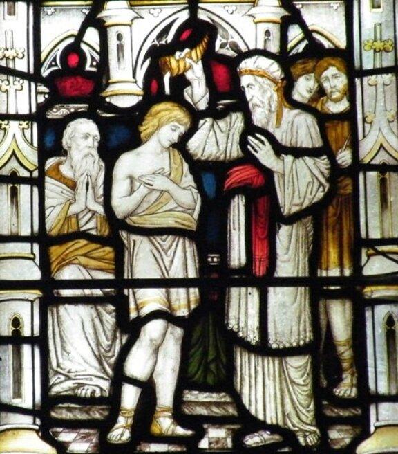 Onction de David par Samuel, vitrail
