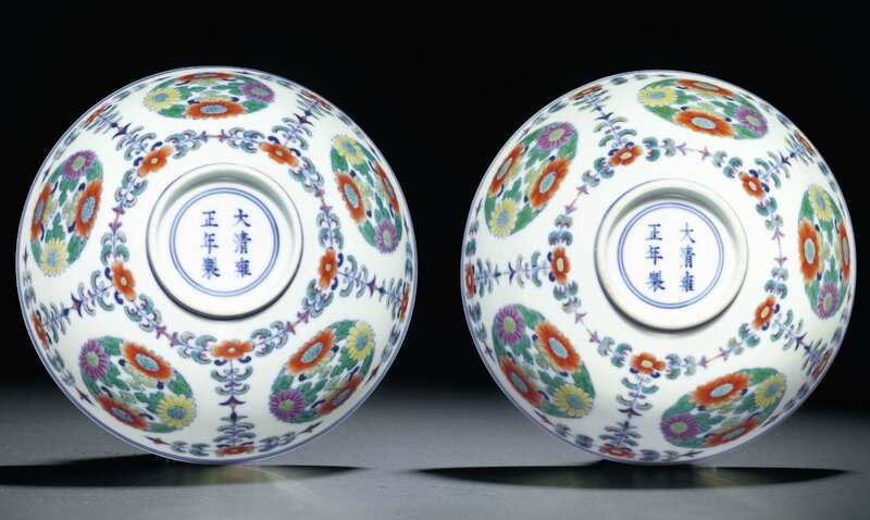 A pair of doucai 'floral medallion' bowls, Yongzheng six-character mark within double circles and of the period (1723-1735)