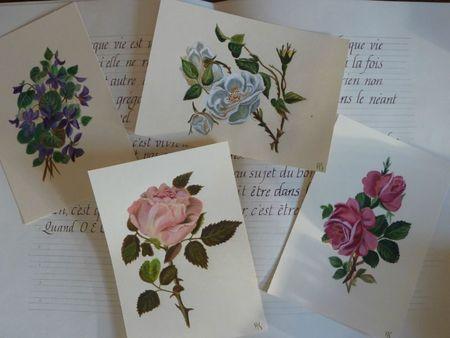 cartes peintes - pensées bleues et jacinthe blanches (14)