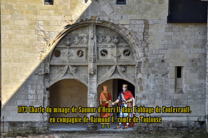 1173 Charte du minage de Saumur d'Henri II dans l'abbaye de Fontevrault, en compagnie de Raimond V, comte de Toulouse