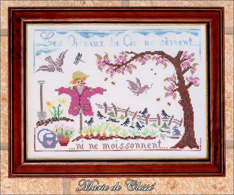 Marie Les oiseaux du ciel ne sèment ni ne moissonnent Grille de Pili Encadrement 18x24cm baguette bois et filet or 2020