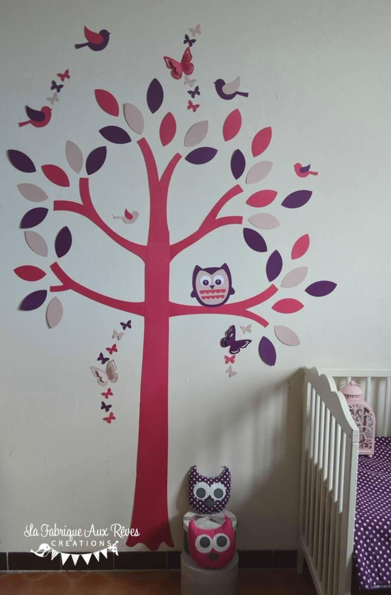 stickers arbre rose poudré rose fuchsia violet prune hibou oiseaux papillons feuilles - décoration chambre bébé hibou oiseaux rose poudré fuchsia violet prune