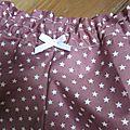 Culotte BIANCA en coton vieux rose parsemé d'étoiles blanches - noeud blanc - Tailles 44-46 (3)