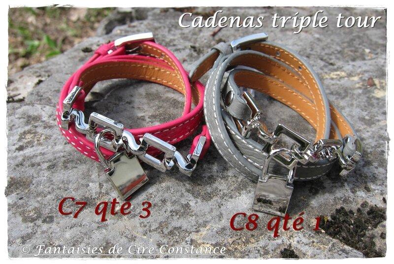 Bracelets cuir triple tour cadenas fushia-gris 16 euros