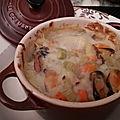 Le goût des moules marinières dans un gratin aux légumes