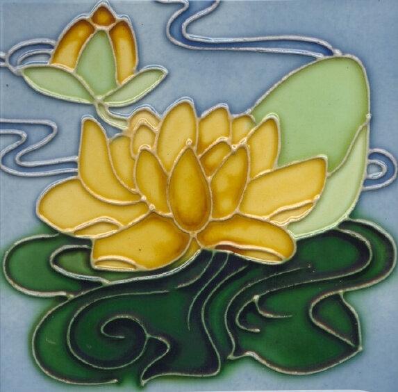 fridge-magnet-art-nouveau-tile-yellow-water-lily
