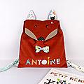 Sac enfant personnalisé Antoine sac à dos renard personnalisable prénom tissus