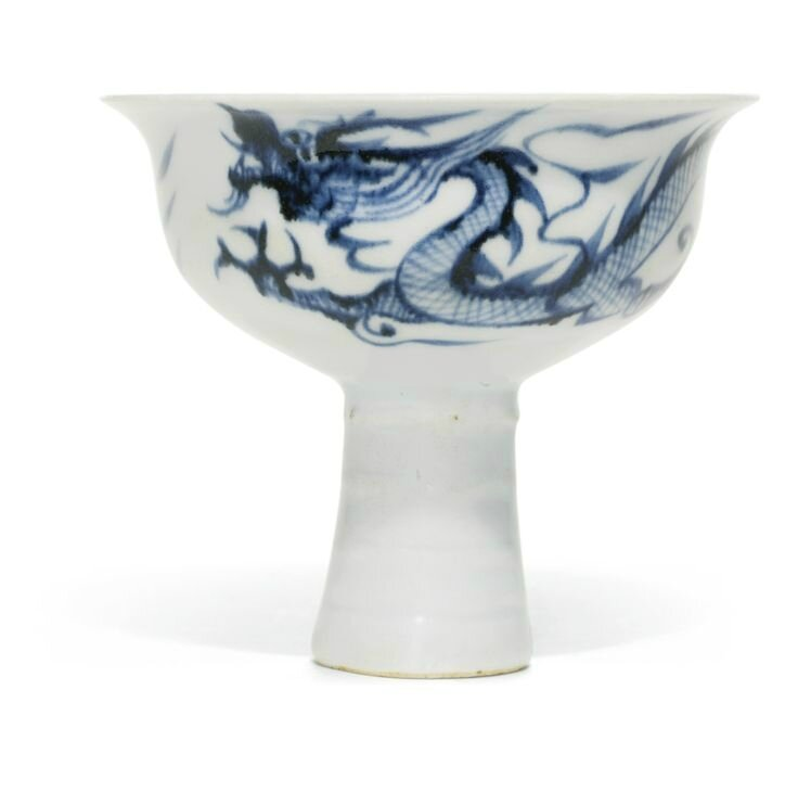 An anhua and blue and white 'Dragon' stem cup , Yuan dynasty