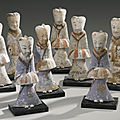 Eight painted gray pottery figures of attendants, han dynasty (206 bc - 220 ad)