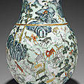 A large famille rose molded 'hundred-deer' vase, hu, qing dynasty (1644-1911)