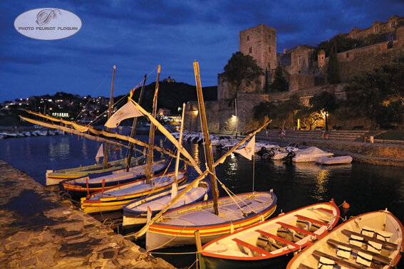 COLLIOURE_les_barques_de_peche_traditionnelles_les_Catalanes_vues_de_nuit_Le_Chateau_Royal