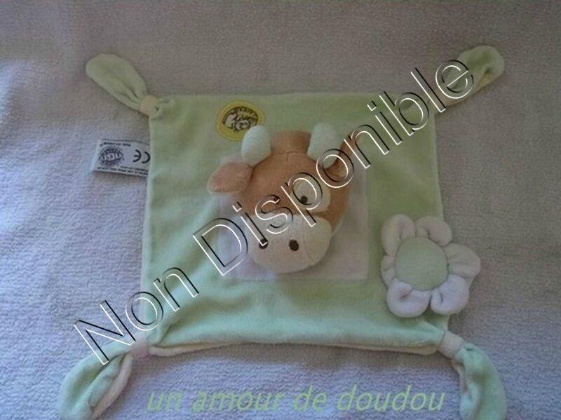 Doudou Vache Girafe MGM DODO D'AMOUR Plat Carré Vert Blanc Cocard Fleur Attache Tétine