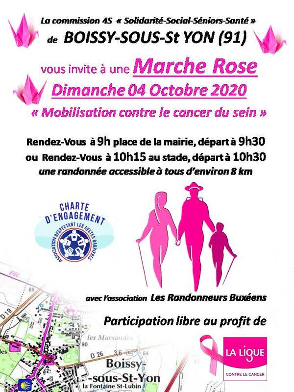 projet d'affiche marche Octobre rose randonneurs
