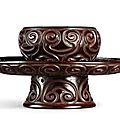 A black and red 'tixi' lacquer lobed bowl stand, yuan – ming dynasty