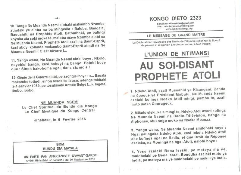AU SOIT DISANT PROPHETE ATOLI a