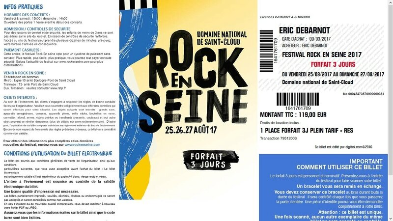 2017 08 25 26 27 Rock en Seine Billet