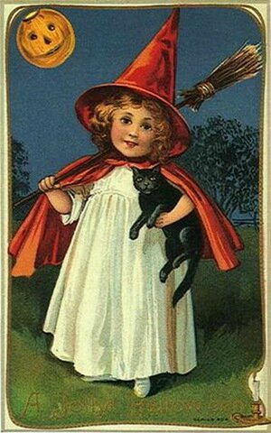 halloween -little-girl-witch-red-cape-hat-black-cat-broom-pumpkin