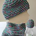 Ensemble col et bonnet enfant - set of snood & hat for children