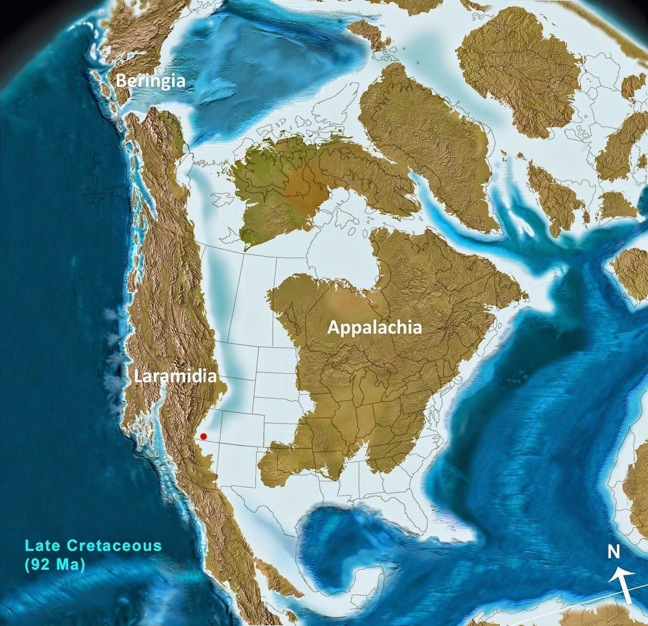 North America 92 million years ago