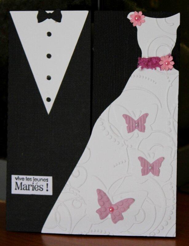 carte felicitations mariage robe papillons